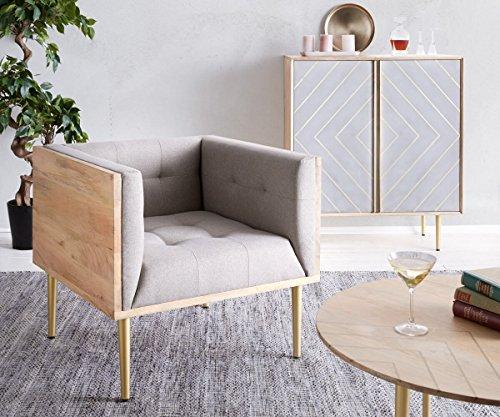DELIFE Relaxsessel Metropolitan Grau 76x73 cm Mango Natur filigran abgesteppt Sessel