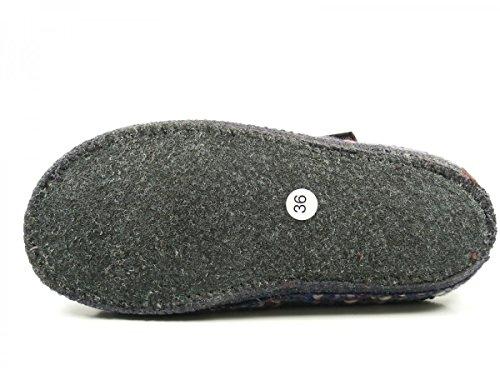Haflinger 611088-0 Pantofole Da Donna In Noce Unite Viola Lana