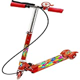 CM SALES 3 Wheel Kids Fold Able & Height Adjustable Upto 74 Cm Scooter With Hand & Foot Brake & Ring Bell & LED Lights On Wheels Also Wide Foot Space & Shock Proof Runner For Children Age 2.5 To 7 Years, Multi Colored (RED)