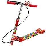 #8: MAGNIFICO 3 wheeler scooter for kids with ride ons with brake & bell + LED lights on wheels + Height adjustable up to 76 cm & Fold able 3 wheel kick cycle/rider/scooter for children Age between 2.5 to 10 years, Multi color (RED 508)