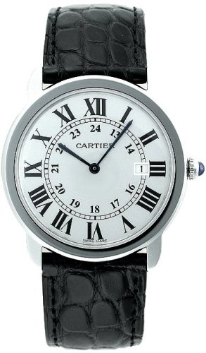 Cartier Homme 36mm Bracelet Cuir Noir Boitier Acier Inoxydable Saphire Quartz Cadran Blanc Montre W6700255