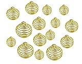 Fodattm 30 Stück 3 Größen Spiralperlen Käfige Anhänger Findings Hohl Laterne Kugel-Charms Anhänger Lavastein Perlen Käfige Anhänger Halskette Schmuckherstellung Zubehör gold