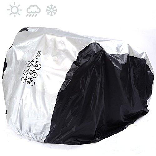 maveek Fahrradabdeckung aus 190T Nylon, robust, hält jedem Wetter stand, Wasserdicht, Staubdicht, bietet UV-Schutz, für Mountainbike & Rennrad, mit Verschlussschnalle und verstellbarem Gurt, inkl. Aufbewahrungstasche mit Kordelzug, 3 Bike - Black & Silver (Scooter Cover Wasserdicht)