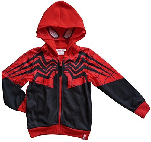 Jungen Ultimate Spiderman Maske Kapuze NEUHEIT Reißverschluss Kapuzenpulli Sweatshirt Größen from 3 to 10 Years - Schwarz, 6 (Spider Kapuzen Man Kostüme)
