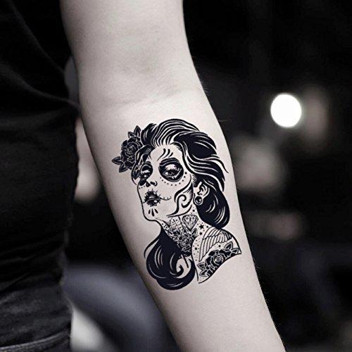 (Dia De Los Muertos temporäre gefälschte Tätowierung Aufkleber abwaschbares Tattoo (Set von 2) - TOODTATTOO.COM)