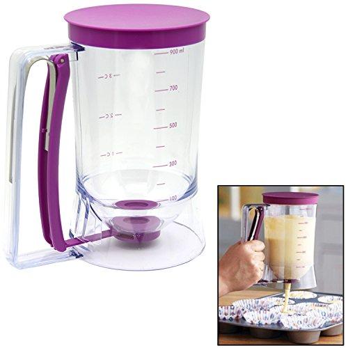 Violet lait Pâte à crêpes Distributeur de gâteau outil No Mess de W/Guide de Mesure