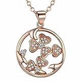 Onefeart Rose Vergoldet Anhänger Halskette für Frauen Mädchen Weiß Kristall Herz zu Herz Runden Halskette 45cmX27X20MM