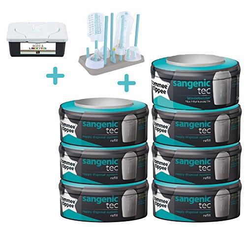 Sangenic Nachfüllkassetten 7er-Pack + Flaschenständer + Feuchttücher box BLUE/BLAU