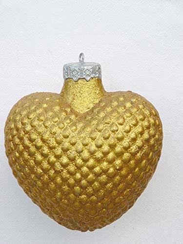 Weihnachtskugel in Herzform Gold glitzernd vergrößert 38cm für draußen aus Polyresin