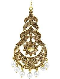 Shining Jewel Bridal Passa/Mang Tikka with Kundan and Pearls Jewelry for Women