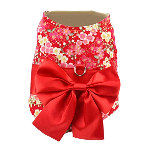 XIYAOJapanischer Kimono Art Kostüm Hundekleidung für Kleinen Hundewelpen Katzen Haustier (die Größen sind für Kleine Hunde/Katzen und Laufen klein)
