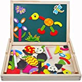 Tribe Juguete de Madera Pizarra Blanca Tablero Magnéticos Educativos con Caballete Puzzle para Niños Infantil de 3 4 5 Años