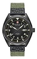 Swiss Military SM34521AEU/H01 - Reloj de cuarzo para hombres con esfera negra y correa verde de tela de Swiss Military