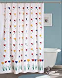 #9: Yellow Weaves PVC Flowers Hand Painted Shower Curtain 54X84 Inches- 8 Hooks
