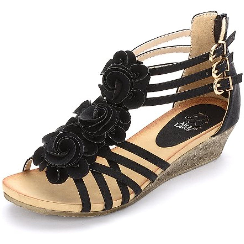 Alexis Leroy  Plateforme s Femme Plateforme  Compensées Fleurs Chaussures Noir 36 EU/3 UK - B00HD7UPR6 - 4c294b