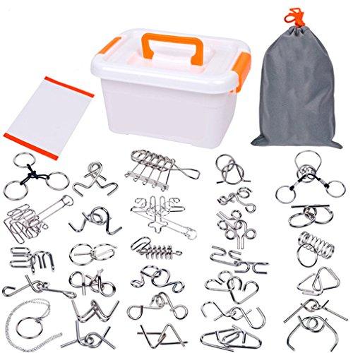 BrilliantDay Set di 30pz Rompicapo in Metallo Metal Wire Puzzle Giocattoli Educativi IQ Test Puzzle per Adulti e Bambini