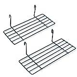 2er Mini Regal für Design Metall Wandgitter | Foto Eisen Gitter Raster Dekoration | Memo -Moodboard | Gridpanel | Wand Organizer | DIY Multifunktions -Grid Deko | Draht | Schwarz 25 x 10 cm Ablage