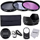 Neewer® 58MM profesional lente filtro accesorio Kit y IR inalámbrico Control remoto RC-6 para Canon EOS 400D / Xti; 450 D / Xsi; 1000D / XS; 500D/T1i; 550D / T2i; 600D/T3i; 650D/T4i; D 700/T5i; D 100 con rosca de filtro de 58MM - incluye Kit de filtro (UV, CPL, FLD) + filtro de bolsa de transporte + parasol flor del tulipán + centro de pellizca la tapa del objetivo con tapa Keeper Correa + paño + IR teledirigido sin hilos RC-6 de microfibras