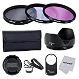 Neewer® 58MM Professional Lens Filter Accessory Kit and IR Wireless RC-6 Remote Control for CANON EOS Rebel T5i T4i T3i T3 T2i T1i XT XTi XSi SL1 DSLR Cameras- Includes Filter Kit (UV, CPL, FLD) + Filter Carrying Pouch + Tulip Flower Lens Hood + Center Pinch Lens Cap with Cap Keeper Leash + Microfiber Cleaning Cloth+ IR Wireless RC-6 Remote Control