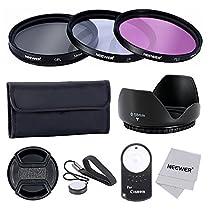 Neewer® 58mm Professionel Objectif Filtre Kit avec RC-6 IR Télécommande Sans Fil pour Canon EOS 400D/Xti; 450D/Xsi; 1000D/XS; 500D/T1i; 550D/T2i; 600D/T3i; 650D/T4i; 700D/T5i ;100D; 1100D avec 58mm Filetage de Filtre – Inclus Ensemble de Filtre (UV, CPL, FLD) + Sac de Transport pour Filtres + Tulipe Fleur Pare-soleil + Centre Pincement Bouchon d'Objectif avec Laisse de Bouchon Garde + Chiffon de Nettoyage en Microfibre + RC-6 IR Télécommande Sans Fil