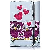 tinxi® Kunstleder Tasche für HTC 99HAED042-00 Desire 626G (Dual-micro SIM) Tasche Schutz Hülle Schale Etui Case Cover Standfunktion mit Karten Slot lila Eule Owl Familie