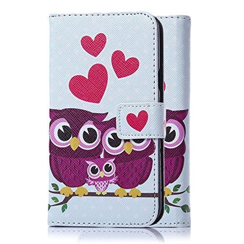 tinxi® Kunstleder Tasche für LG Optimus L5 II E460 Tasche Schutz Hülle Schale Etui Case Cover Standfunktion mit Karten Slot lila Eulen Owls Familie