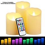3 Velas LED Sin LLama - Glamouric Velas Eléctricas Hechas de Cera con Control Remoto de 18 Botones y 12 Colores Cambiables Perfectas para San Valentín Fiestas Bodas Navidad Festivales