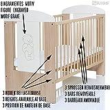Bär creme Baby Kinderzimmer Komplett Möbelset mit Bett 120×60 + Matratze, Wickelkommode mit Ablage und 9 Teile Bettwäsche XXL Set - 3