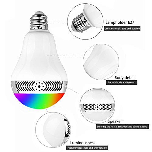 Lampadina con Altoparlante GRDE® Lampada led Bluetooth 4.0, Bulb Smart Colore Colorato 5W E27 App Telecomando Infrared per Controllo con Modalità Arcobaleno / Pulse / Flash / Candela , Cambiare i Colo Bluetooth