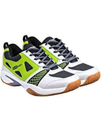 Gowin By Triumph Staunch White/Grey/Lime Badminton Shoes NON MARKING SOLE