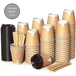 100 Kraft Plane Double Paroi Gobelets Carton pour Café à Emporter - Tasse Café 240ml avec Couvercles et Agitateurs en Bois pour Servir Le Café, Le Thé, des Boissons Chaudes et Froides