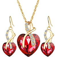 Luxury Heart shape Zircon Crystal Earrings and Necklace Jewelry Set
