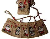 Adventskalender Jutesäckchen mit Schneeman und Weihnachtsmannmotiven - Girlande zum Befüllen