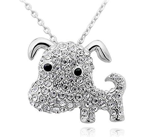 SaySure - 18K Rose Gold Plated Rhinestone Crystal Dog Necklaces