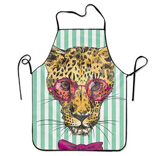 KLYDH Mr Cheetah Cooking Apron,Funny BBQ or Kitchen Aprons,Machine Washable (Cheetah Aqua Girl)