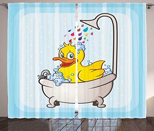 kaler Vorhang, Karikatur-Maskottchen in der Badewanne, Wohnzimmer Universalband Gardinen mit Schlaufen und Haken, 280 x 260 cm, Mehrfarbig ()