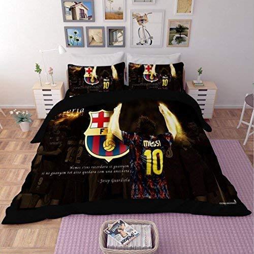 KJGLXD 3D Soft Mikrofaser Bettbezug-Set Fútbol Club Barcelona Lionel Messi Bettwäsche 3 Stück Tröster Cover Set mit 2 Kissenbezügen für jugendlich Jungen,Ausingle -