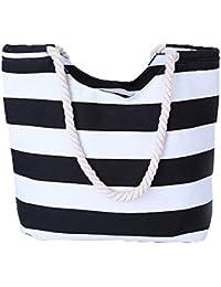 VANCOO Grosse Strandtasche Damen canvas schultertasche mit Reissverschluss fuer Shopping, Strand, Wandern, Urlaub, Freizeit, Schultag