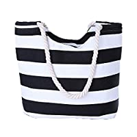 VANCOO Large Utility Canvas and Nylon Travel Beach Tote Bag For Women and Girls (Black Stripe)