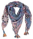 Ella Jonte Dreieckstuch blau nude pink Blumen Ethno Print Tuch Quasten Viskose