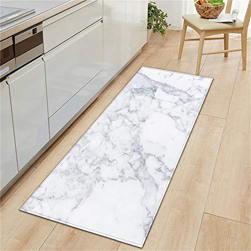 Schwarz Weiß Marmor Gedruckt Willkommen Fußmatte rutschfeste Küche Teppich Bodenmatte Flur Portch Teppich Fußmatten Outdoor-C_60X90CM ()
