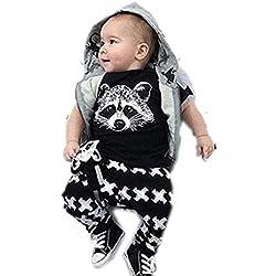 para la ropa del bebé,RETUROM fresco recién nacidos para niños Niños bebés Trajes camiseta tops + Pants juego de ropa (90)