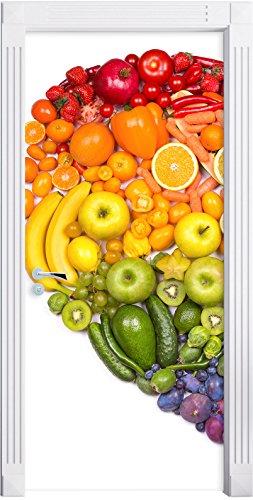 Frutta cuore arcobaleno come Murale, Formato: 200x90cm, telaio della porta, adesivi porta, porta decorazione, autoadesivi del portello