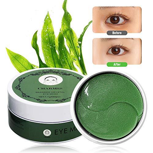 Charmss Eye Maske Augenpads Seetang Eye Maske Feuchtigkeit spendende Anti Aging Falten Pflege Eye Maske Augenpflege mit Hyaluron Augenpads entfernen Taschen dunkle Kreise & Puffiness(60pcs-Grün).