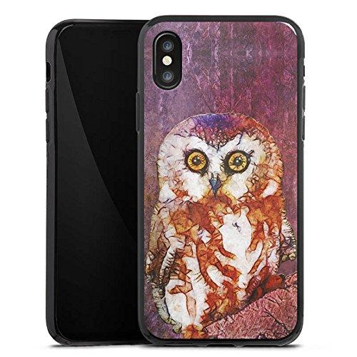 Apple iPhone X Silikon Hülle Case Schutzhülle Eule Owl Wasserfarbe Silikon Case schwarz