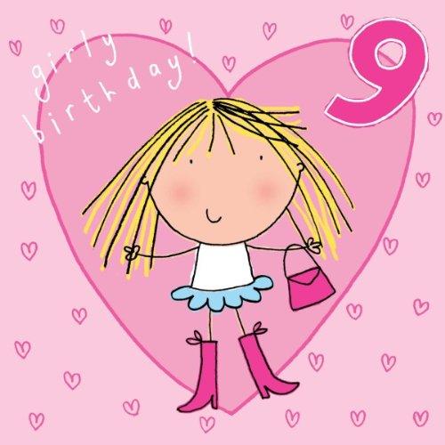 Crystal Finish (twizler 9. Geburtstagskarte für Mädchen mit Handtasche, Herzen und Swarovski Crystal Finish–Neun Jahre alt–Alter 9–Kinder Geburtstag–Mädchen Geburtstag Karte)