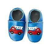 smileBaby Premium Leder Lauflernschuhe Krabbelschuhe Babyschuhe Blau Feuerwehrauto 12 bis 18 Monate