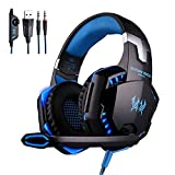 Gaming Headset,Rixow G2000 Pro Gaming Kopfhörer mit Mikrofon 3.5mm On-Ear Surround Sound Ohrhörer und Einstellbare Bass-Stereo Lautstärkeregelung für PC Laptop
