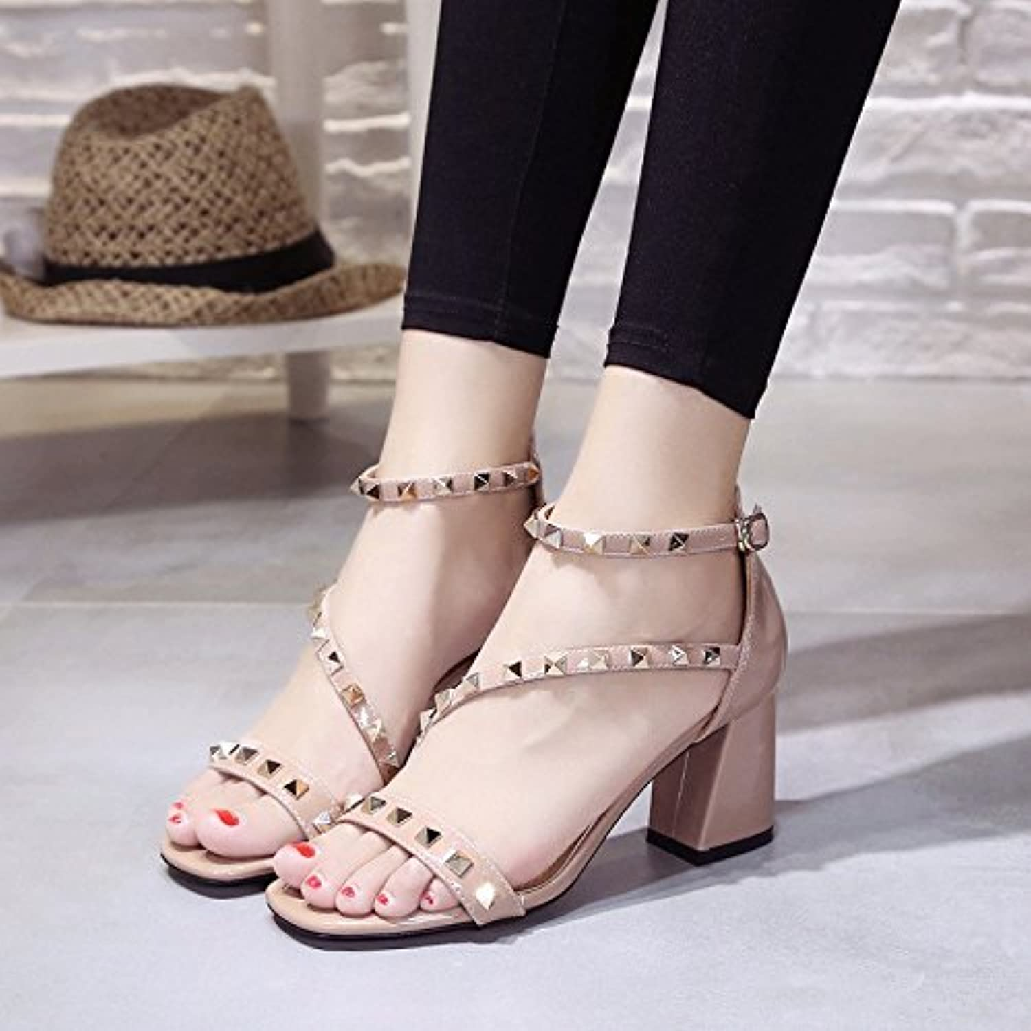 High Heel Sandals, Remaches, Tacon, Botones,Rosa,Eu37Cn38