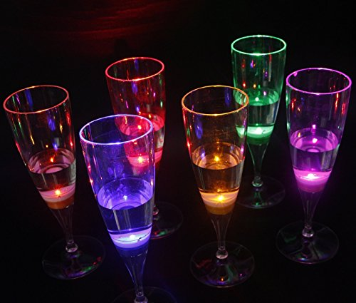 LED Leuchten Wein Gläser, Champagner Sektgläser Leuchtende Weingläser Flöte Cocktail blinkende Tassen, LED Bar Party Night Club Getränk Weihnachten Hochzeit Party Cup Dekoration 6 Stück (Champagner Led Gläser)